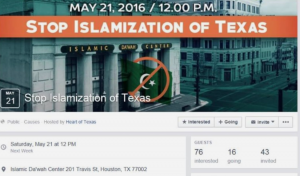 """Screengrab of a Facebook event titled """"Stop Islamization of Texas."""" The date of the event is Saturday, May 21 at 12 PM."""