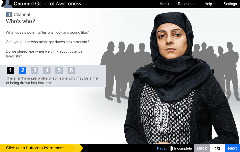 Screengrab of a slide used for training teachers about potential terrorists.