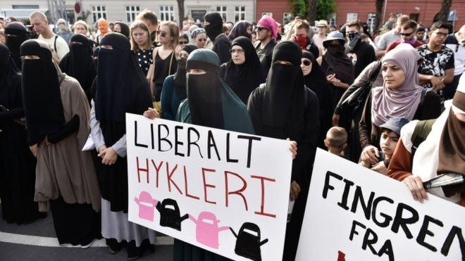 Hundreds of people protested against the face veil ban in Denmark in August 2018.